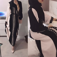 Women's Linen Dubia Style Lace Trim Muslim Eid Abaya Islamic Maxi Long Dress