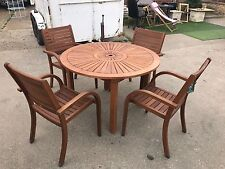 almeria 4 seater round wooden garden furniture set 1 table 4 chairs collection - Garden Furniture 4 Seater Sets