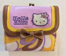 Vintage  Hello Kitty Sanrio Coin Purse Fabric  Brass/ Metal Snap