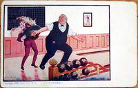 1908 Bernhardt Wall/Artist-Signed Postcard-Bowling Man Knocks Waiter, 'A Strike'