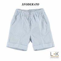 Pantalone a Righe in Cotone Neonato Celeste Minibanda M654