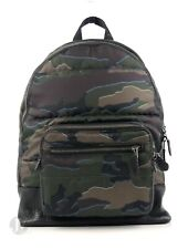 Coach Mens (F31319) West Quilted Nylon Green Camo Leather Backpack Bag