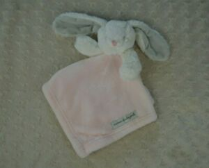 Blankets & Beyond Pink White Bunny Rabbit Lovey Security Blanket Gray Ears