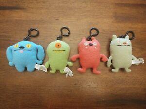 "Ugly Dolls Plush 4"" Clip Keychain Lot of 4  Stuffed Toys"