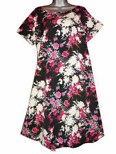 Plus size short sleeved knee length crepe pink floral printed dress