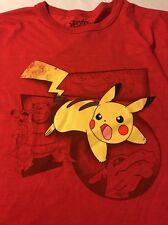 Pokémon Red Varsity White Striped Men's Short Sleeve T-Shirt Size XL NWT