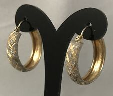 Diamond Cut 14K Two Tone Gold Hoop Earrings