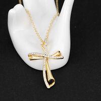 LC_ Elegante Croce ciondolo collana cristallo brillante strass donna gioielli ad