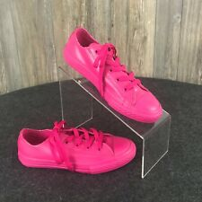 Converse All Stars Girls Pink Faux Leather Tennis Shoes Sneakers Size 2