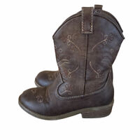 Cat and Jack Cowboy Boots Size 9 Girl's Toddler Western Brown Zip Up cowgirl