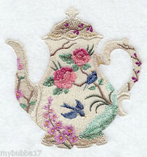 TEAPOT EMBROIDERED SET 2 BATHROOM HAND TOWELS U PICK  design by laura