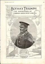 1915 WWI PRINT ~ GENERAL BOTHA IN FIELD KIT ~ GERMAN SOUTH WEST AFRICA