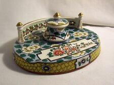 ENCRIER PLUMIER porcelaine BOISBERTRAND 1882-1938 à LIMOGES décor FLEUR BALCON