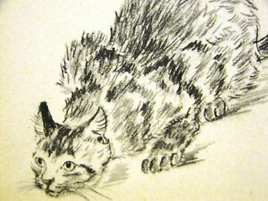 Gladys Cook STALKING CAT LOOKOUT 1941 Art Print Matted