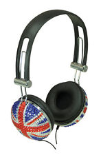 SoundLab Union Jack Crystal Effect Bling Stereo Headphones (A081A)