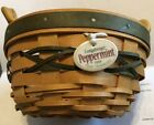 Longaberger 1999 Peppermint Tree Trimming Basket Green Tie-On Leather Handle
