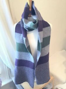 Barbour Made In Scotland 100% Lambswool Grey Green Purple Scarf Shawl