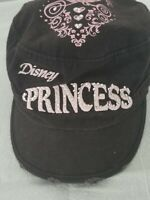 Black Baseball Cap Hat with Pink Disney Princess Embroidered Rhinestone Logo