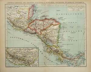 1900 Antique map of CENTRAL AMERICA: Mexico, Cuba, Puerto Rico, Honduras