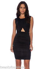 NWT $210 Rachel Pally Autumn Dress in Black Ruched Cut Out Center sz XS