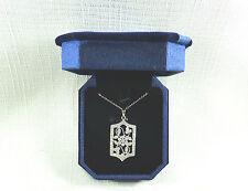 Cubic Zirconia, European Design Solid 925 Sterling Silver Pendant & Chain