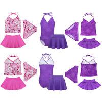 3Pcs Girl Swimwear Swim Dress Kid Halter Tankini Swimsuit Set Bathing Suit Sets