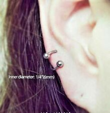 """2PC LOT 16G 1/4"""" TINY STEEL BALL SPIRAL TRAGUS RING TWISTER EAR DAITH STUD HELIX"""
