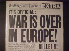 VINTAGE NEWSPAPER HEADLINE~WORLD WAR 2 NAZI GERMANY SURRENDERED EUROPE WWII OVER