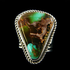 Sterling silver adjustable Navajo made ring w rare Royston Turquoise S-8.5 to 10