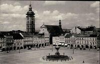 Budweis Budějovice Tschechien Česká Böhmen 1943 Marktplatz Kirche Brunnen Markt