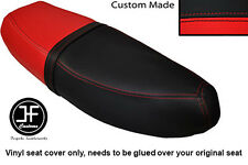 BLACK & RED VINYL CUSTOM FITS HONDA C90 CUB SQUARE LIGHT MODEL DUAL SEAT COVER