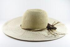 RETRO LADIES BEIGE / CANVAS HAT WITH STRAW TOP RETRO VINTAGE DESIGN(HT24)