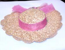 VINTAGE HAT 1940 1950 GIRLS STRAW scalloped weaved edge sheer pink band/bow/rose