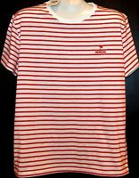 Moschino Swim White Striped  Cotton  Men's T-Shirt Shirt Sz 2XL