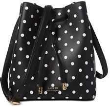 Ralph Lauren Dryden Debby II Mini Leather Drawstring Bag Black White Polka Dot