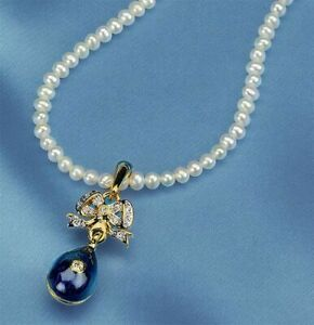 Imperial Blue Egg on Bow & Pearl Necklace Faberge Inspired Russia, 18th - 19th C