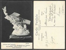 Old Aviation Postcard - France, Airplane - Michelin Cup - Biplane Statue