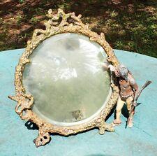 Rare Franz Bergman Antique Cast Iron Round Tabletop Mirror With Native American