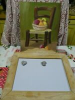 lot===peinture naive la chaise nature mortes  et cadre messages pour cuisine