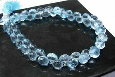 Blue Topaz Quartz Handmade Faceted Onion Shape Side Drill Beads 8x8mm