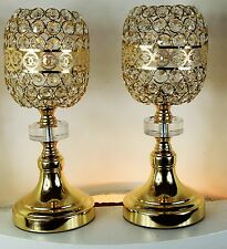 Pair of Crystal Cut Golden Tea light Candle Holder  CC Wedding home Decor