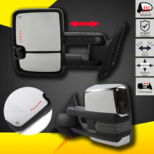 Chrome Tow Mirrors For Silverado Sierra 1500 2500 3500 Power Heated LED Signal