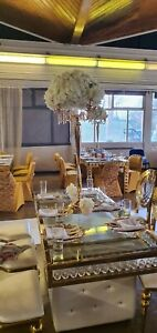 Gold Flower Stands, Wedding Centre Pieces 120cm TO HIRE, gold candelabra