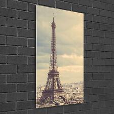Wandbild Kunst-Druck auf Hart-Glas senkrecht 50x100 Eiffelturm Paris