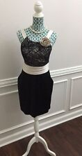 NWT Boutique Little Black Champagne Satin Lace Dress Formal Womens Large L