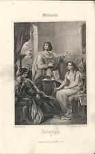 Stampa antica WIELAND Musicista con cetra 1860 Old antique print Alte stich
