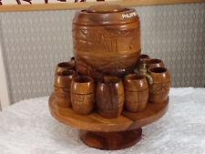 Vintage Barril De Cerveza Whisky Barril de Vino con grifo de latón en tazas con base giratoria