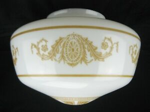 """Vtg 1920s Art Deco Nouveau Stenciled Milk Glass Schoolhouse Globe 6"""" Fitter"""