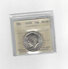 **1976S Silver Clad** USA, Kennedy Half Dollar, ICCS Graded MS-66
