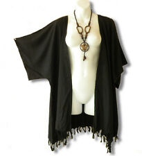 Black Solid Plus Size Cardigan Duster Jacket Kimono Cover up - 2X, 3X, 4X & 5X